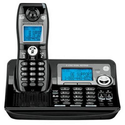 Dect 6.0 Digital Black 2-Line Cordless Single Handset Phone