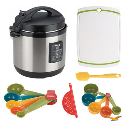Stainless-Steel 3-in-1 6 Qt. Multi-Cooker, Board, and Measuring Sets Bundle