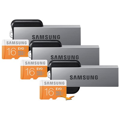 EVO 16GB Class 10 MicroSDHC Memory Card 3-Pack with USB 2.0 Readers