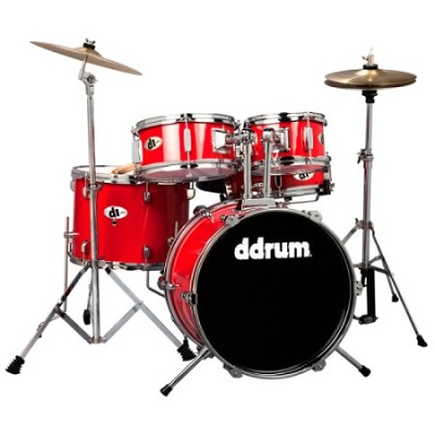 D1CRD D1 JR Complete 5-piece Drum Set, Candy Apple Red