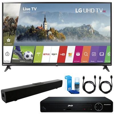 49` UHD 4K HDR Smart LED TV w/ HDMI DVD Player & Sound Bar Bundle