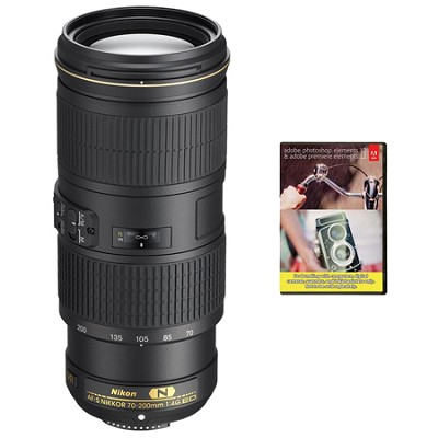 AF-S NIKKOR 70-200MM F/4G ED VR Lens w/ Adobe Elements Bundle