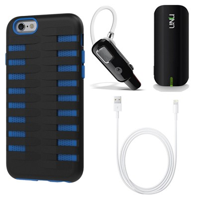 Cobra Apple iPhone 6 Silicone Dual Protective Case - Black/Blue On the Go Bundle