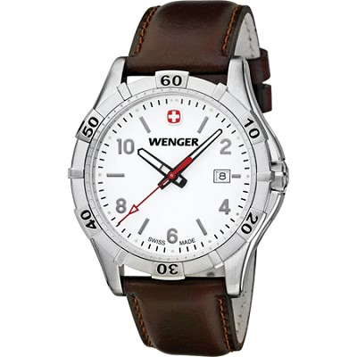 Men's Platoon Analog Watch - White Dial/Brown Leather Strap