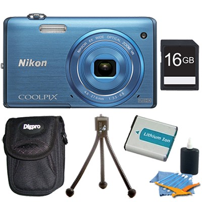 COOLPIX S5200 16 MP Built-In Wi-Fi Digital Camera - Blue Plus 16GB Memory Kit