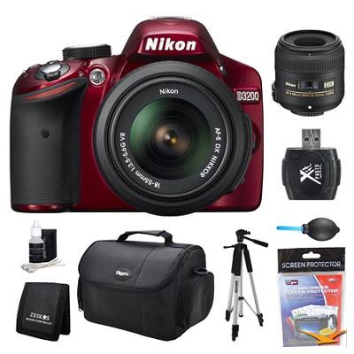 D3200 DX-Format Red Digital SLR Camera 18-55mm and 40mm Lens Kit