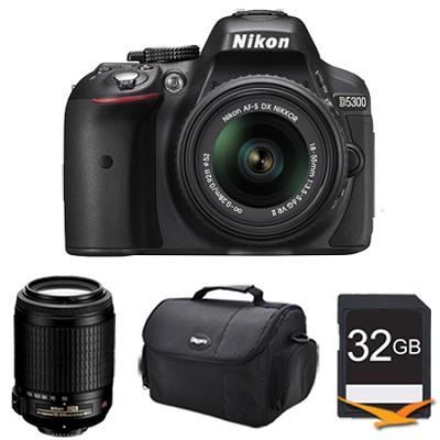 D5300 DX-Format Digital SLR Kit (Black) w/ 18-55mm DX & 55-200mm VR Lens Bundle