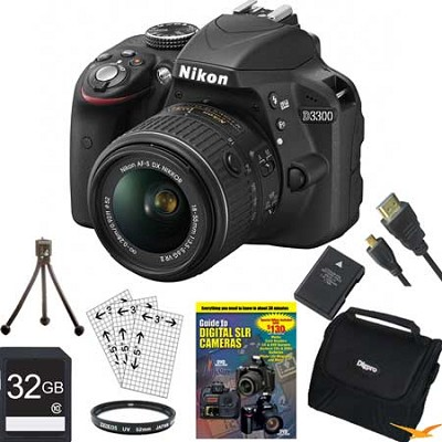 D3300 DSLR 24.2 MP HD 1080p Camera with 18-55mm Lens 32GB Black Bundle