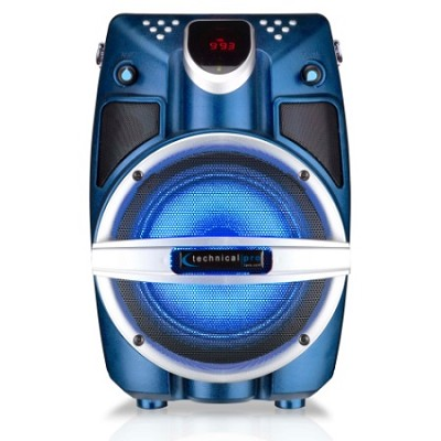 6.5` Powered Bluetooth PA System with Mic & LED Woofer - Blue Shaker