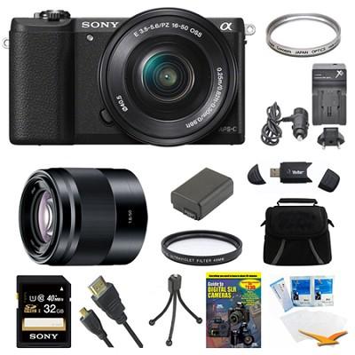a5100 Mirrorless Camera w/ 16-50mm and 50mm Lens Black Bundle