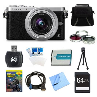 LUMIX DMC-GM1 DSLM Black Camera with 12-32mm Lens 64GB Bundle