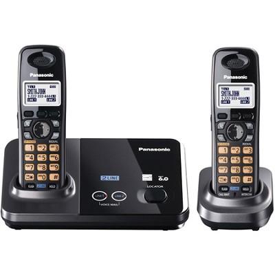 KX-TG9322T 2-Line DECT 6.0 Cordless Phone, Metallic Black, 2 Handsets
