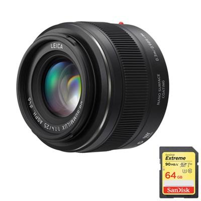 LUMIX G Micro 4/3 LEICA DG SUMMILUX 25mm/F1.4 ASPH. Lens w/  64GB Memory Card