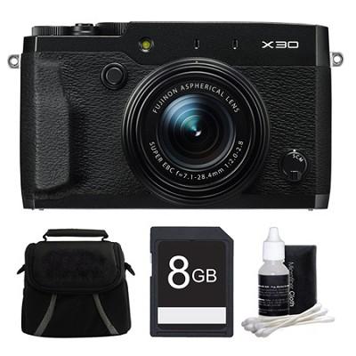 X30 Black Compact Digital Camera 8GB Bundle