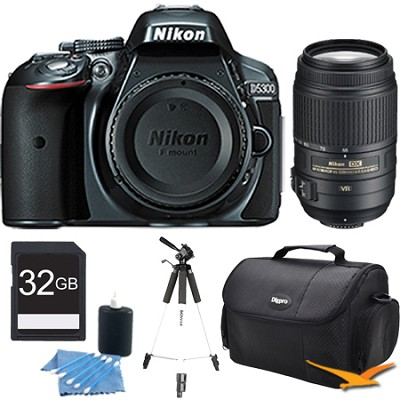 D5300 DX-Format  24.2 MP DSLR Body (Gray) with 55-300mm VR Zoom Lens Bundle