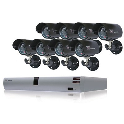 8 Channel H.264 DVR Kit with 8 Cameras and 500GB Factory Refurbished OPEN BOX
