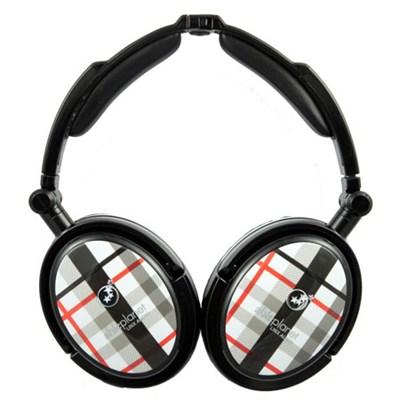 Extreme Noise Cancelling Foldable Headphones (Black Plaid)