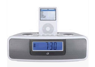 iLive CI3807 Dual Alarm Clock with iPod Dock (White)