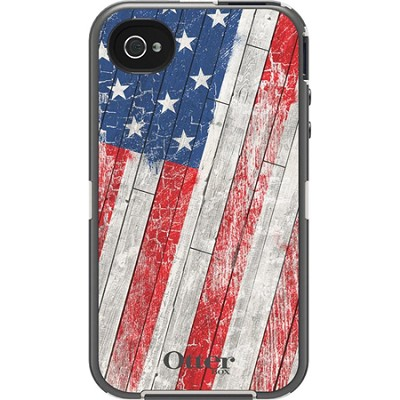 Defender Series Case and Holster for iPhone 4/4S Anthem Collection - Rustic Flag