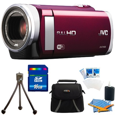 GZ-EX210RUS HD Everio Camcorder f1.8 40x Zoom 3` Touchscreen WiFi (Red) 16GB Kit