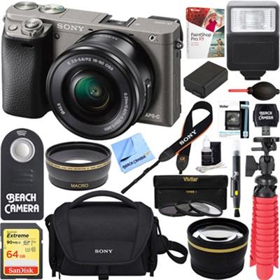Alpha a6000 24.3MP Mirrorless Camera&16-50mm Power Zoom Lens 64GB Accessory Kit