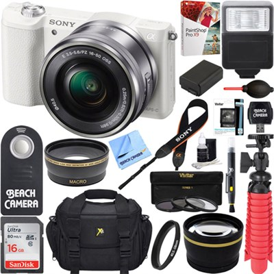 Alpha a5100 Mirrorless Digital Camera 16-50mm Lens White + 32GB Accessory Bundle