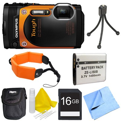 TG-860 Tough Waterproof 16MP Digital Camera w/ 3-Inch LCD - Orange Deluxe Bundle