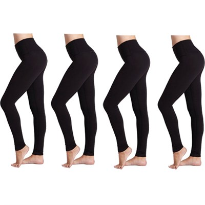 4-Pack Seamless Full Length Leggings (Midnight Black) One Size Fits Most