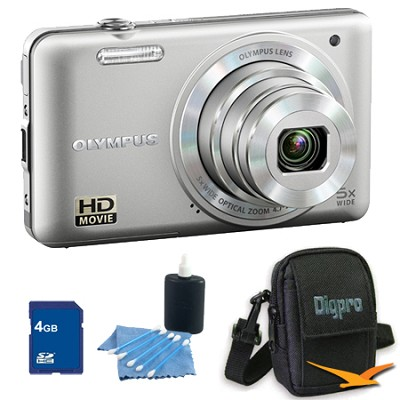 4GB Kit VG-160 14MP 5x Opt Zoom Silver Digital Camera - Silver