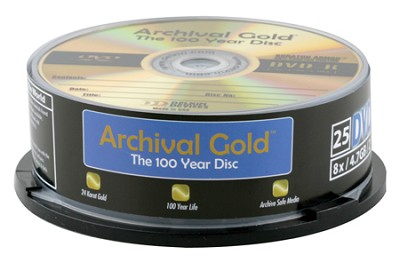 Archival Gold DVD-R Retail Cakebox Spindle (25 discs)