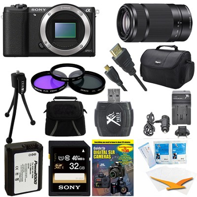 a5100 24.3MP HD 1080p Mirrorless Camera Body Black 32GB Deluxe Bundle