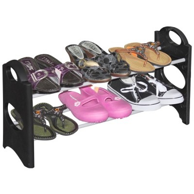 6-Pair 2 Tier Easy To Assemble Shoe Rack - Black