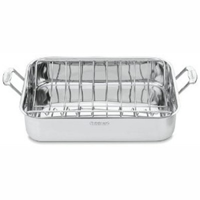 7117-16UR - Chef's Classic Stainless 16-Inch Rectangular Roaster with Rack
