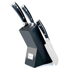 3-piece Forged German Steel Santoku Knife set with Wooden Block  (Black)