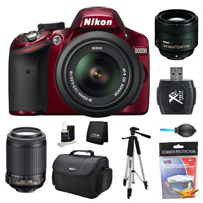 D3200 DX-Format Red Digital SLR Camera 18-55mm, 55-200mm, and 85mm Lens Kit