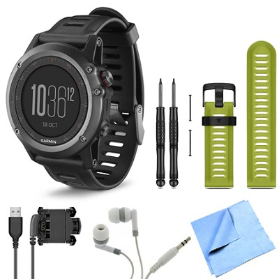 fenix 3 Multisport Training Gray GPS Watch Green Band Bundle