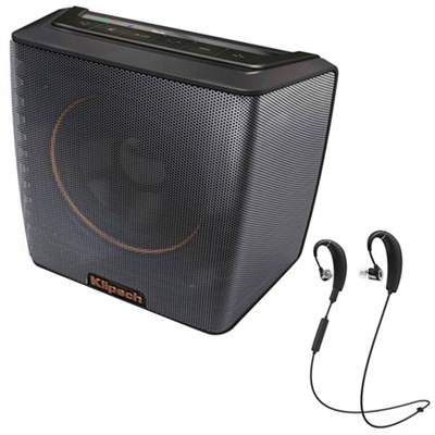 Groove Portable Bluetooth Speaker Black 1062378 w/ Klipsch Bluetooth Headphones