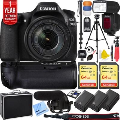 EOS 80D DSLR Camera & 18-135mm Lens Pro Memory Triple Battery Recording Bundle