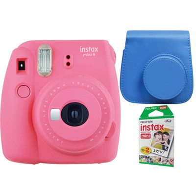 Instax Mini 9 Instant Camera - Flamingo Pink w/ Case + 2-Pack Instant Film