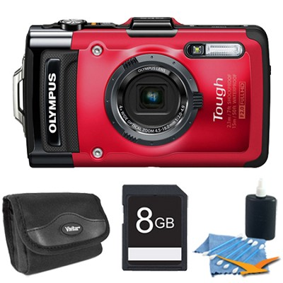 STYLUS TG-2 iHS 12MP 4x Wide/8x SR Zoom HD Digital Camera Red Plus 8 GB Kit