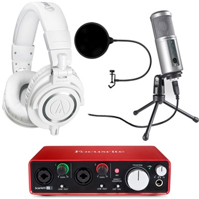 ATH-M50X Pro Studio Headphones (White) w/ USB Audio Interface Deluxe Bundle