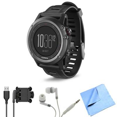 fenix 3 Multisport Training GPS Watch Gray Bundle