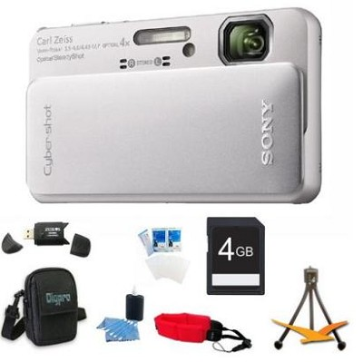 Cyber-shot DSC-TX10 Silver Digital Camera 4GB Bundle