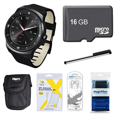 W110 G Watch R with 1.3` P-OLED Display Android 4.3 16GB Bundle