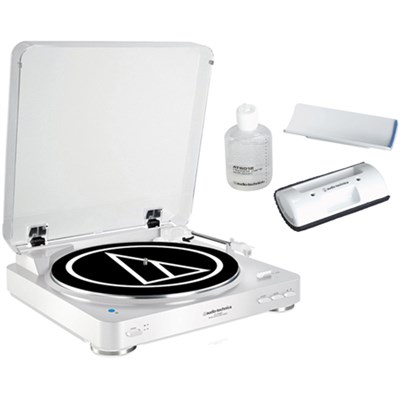 Wireless Belt-Drive Stereo Turntable w/ Record Vinyl Cleaner Kit, White