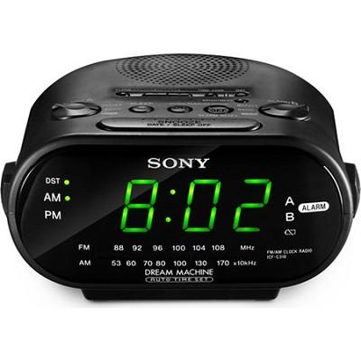 ICF-C318 Black Automatic Time Set AM/FM Clock Radio Dual Alarm  - OPEN BOX