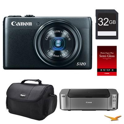 PowerShot S120 Digital Camera, 32GB, Printer Bundle