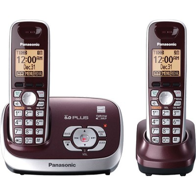 KX-TG6572R DECT 6.0 Wine Red Expandable Digital Cordless Phone w/ 2 handsets