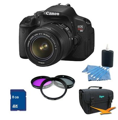 EOS Digital Rebel T4i 18MP SLR Camera 18-55mm IS Lens Photo Enthusiast Kit