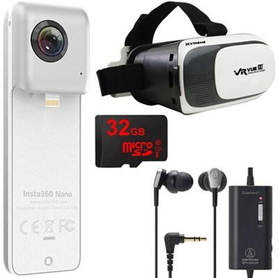 Nano VR Camera iPhone 6 + 7 w/ VR Viewer, 32GB MicroSD, QuickPoint Headphones
